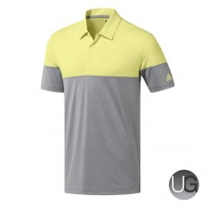 Adidas Golf Ultimate 365 Heather Block Polo Shirt (Yellow and Grey)