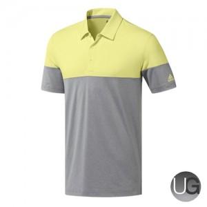 Adidas Golf Ultimate 365 Heather Block Polo Shirt (Yellow and Grey)