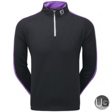 FootJoy Textured Chill-Out Pullover (Black Violet White)