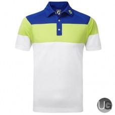 FootJoy Raglan Chest Stripe Pique (Midnight Blue Apple Green White)