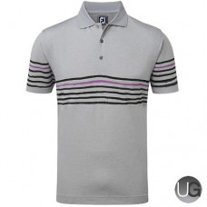 FootJoy Stretch Pique with Painted Stripes (Heather Grey with Black & Violet)