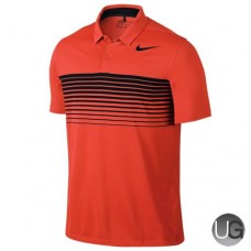 Mens Nike Mobility Speed Stripe Golf Polo Orange Black