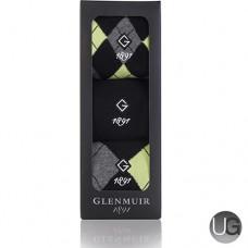 Glenmuir Mens 3 Pair Pack Argyle Golf Socks Gift Box (Yellow Black)