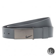Nike Sleek Plaque Mens Leather Golf Belt - Dark Grey