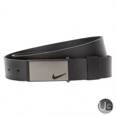 Nike Sleek Plaque Mens Leather Golf Belt - Black