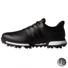 Adidas Tour 360 Boost Golf Shoes - Black/Black/Gold Metallic