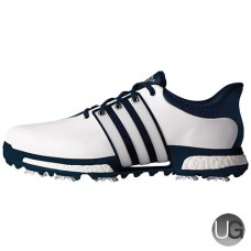 Adidas Tour 360 Boost Golf Shoes - White/Dark Slate/Silver
