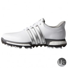 Adidas Tour 360 Boost Golf Shoes - White/Silver/Dark Silver