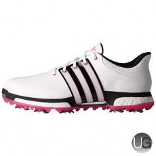 Adidas Tour 360 Boost Golf Shoes - White/Black/Shock Pink